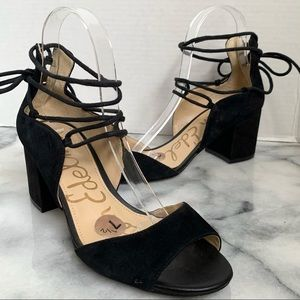 Sam Edelman Black Suede Serene Lace Up Sandal
